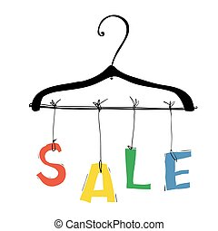 "Colorful sale concept illustration. Hanger and word ""Sale"""