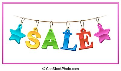 Colorful Sale sign or banner with stars