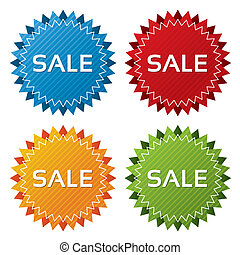 Colorful sale tags collection. Icons set (vector). -...