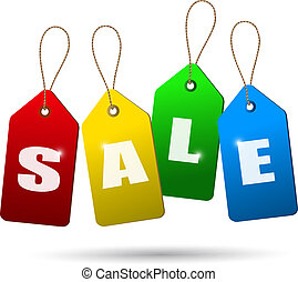 Colorful sale tags. Concept of discount shopping. Vector.