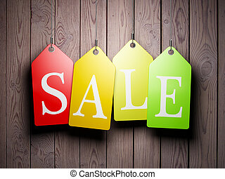 Colorful sale tags hanging