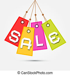 Colorful Sale Tags - Labels Hang on Rope on Grey Background