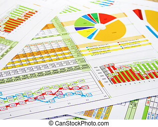 Colorful Sales Report in Digits, Graphs and Charts - ...
