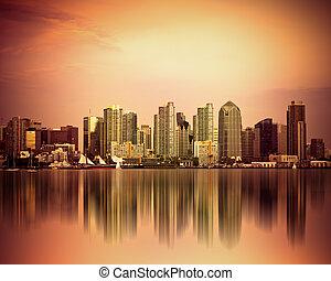 San Diego - Colorful San Diego California skyline at sunset