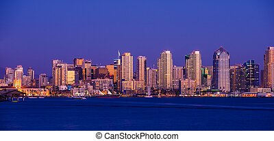 Colorful San Diego Downton. San Diego Skyline Panorama Photo After Dark.