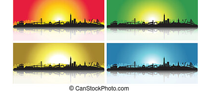 Colorful San Francisco Skyline Set