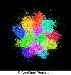 Colorful sand grains lie on black background.