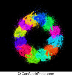 Colorful sand grains lying in a circle on black background.