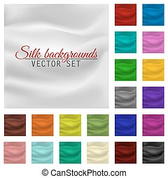 Colorful satin or silk background set. Vector drapery textile.