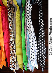 Colorful scarfs .