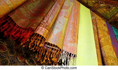 Colorful scarves in Afghanistan - A low angle shot of...