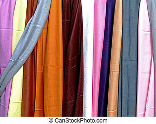 Variety of silk scarves in many colors