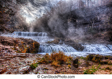 Colorful scenic waterfall in HDR