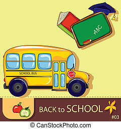 Colorful school background with cute school design elements...