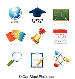 Colorful School Icon Set. Vector