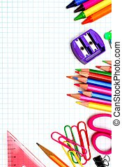 Colorful school supplies corner border over a graphing paper background