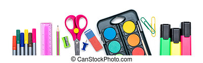 Colorful school supplies on a white background