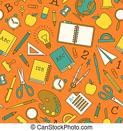 Colorful School Supplies Seamless Pattern