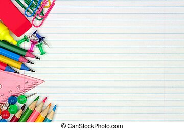 Colorful school supplies side border over a lined paper background