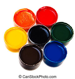 Colorful school water paints isolated over white background.