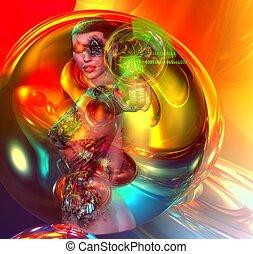 Colorful Sci-fi girl robot