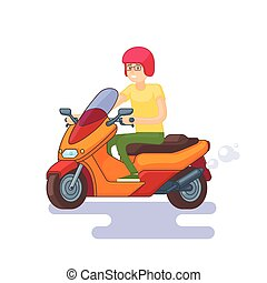Colorful Scooter Flat Concept