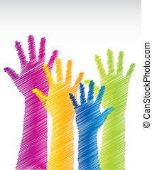 colorful scrawled hands over white background. vector illustration