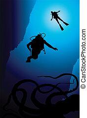 Colorful scuba diver vector