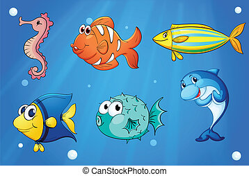 Colorful sea creatures - Illustration of the colorful sea...