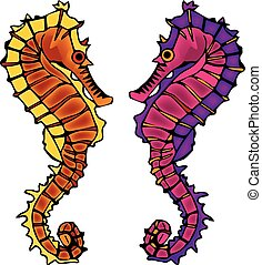 Colorful Sea Horses Vector
