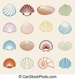 Colorful sea shells silhouettes set