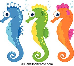 Vector Illustration of colorful seahorses on white background.