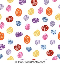 Colorful seamless background of curled abstract clouds. Pink, yellow, blue, orange, purple