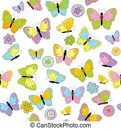 Colorful seamless background with butterflies