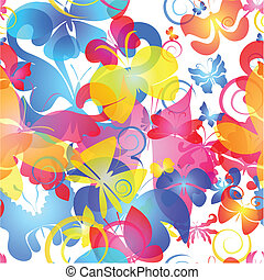 Colorful seamless background with butterfly