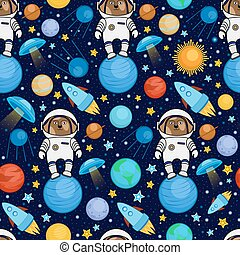Colorful seamless cartoon space pattern with dog astronauts
