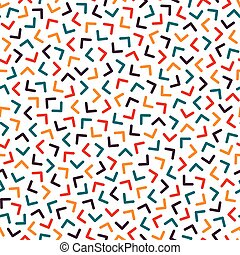 Colorful seamless memphis pattern with mosaic angles. Fashion design 80-90s
