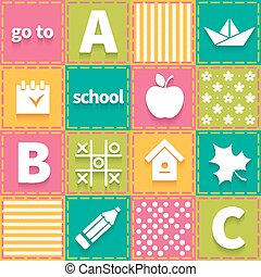 Colorful patchwork with elements of children school theme