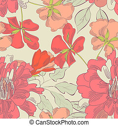 Colorful seamless pattern with decorative flowers