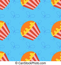 Colorful seamless pattern of appetizing cupcakes on a blue background. Simple flat vector illustration. For the design of paper wallpapers, fabric, wrapping paper, covers