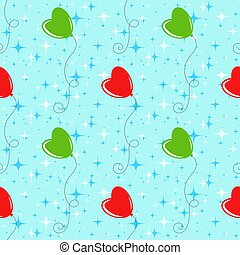 Colorful seamless pattern of cute balloons on a blue background. Simple flat vector illustration. For the design of paper wallpapers, fabric, wrapping paper, covers, web sites