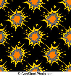 Colorful seamless pattern of explosions or incendiary bursts...
