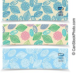 colorful seamless pattern of flowers, leaves and stones header v