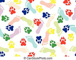 Colorful seamless pattern of imprint of bare human feet and animal on white background. Vector illustration