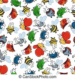 Colorful seamless pattern of insects