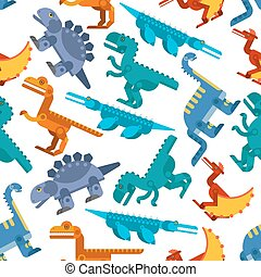 Colorful seamless pattern of jurassic dinosaurs