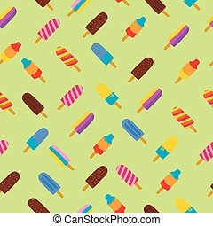 Colorful seamless pattern of popsicle ice cream for summer