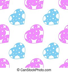 Colorful seamless pattern of silhouettes of cute hearts on a white background. Simple flat vector illustration. For the design of paper wallpaper, fabric, wrapping paper, covers, web sites.