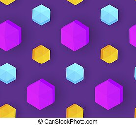 Colorful seamless pattern with 3D polyhedron. Trendy design....