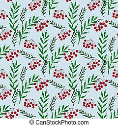 Colorful seamless pattern with ashberry and leaves -...